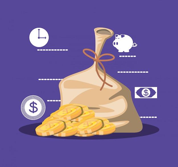 Taschengeld mit münzen und eingestellten ikonen Premium Vektoren