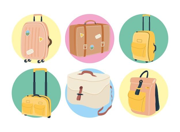 Taschenikonset-design, gepäckgepäcktourismus-reisethema vektorillustration Premium Vektoren