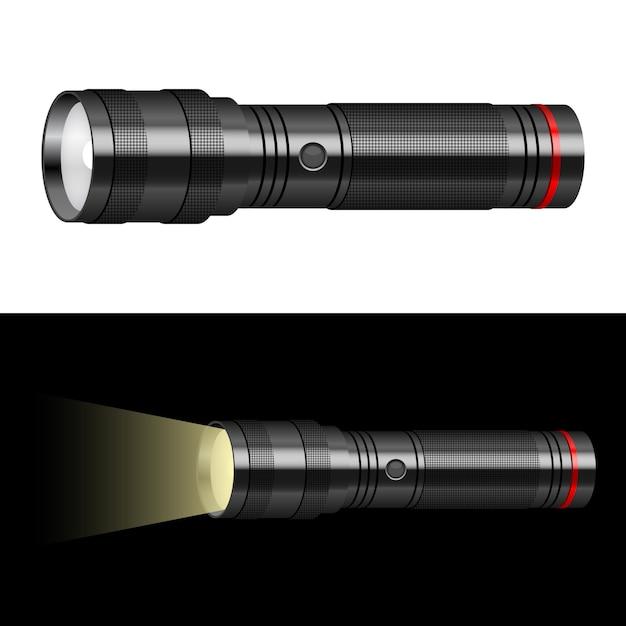 Taschenlampenillustration auf hintergrund Premium Vektoren