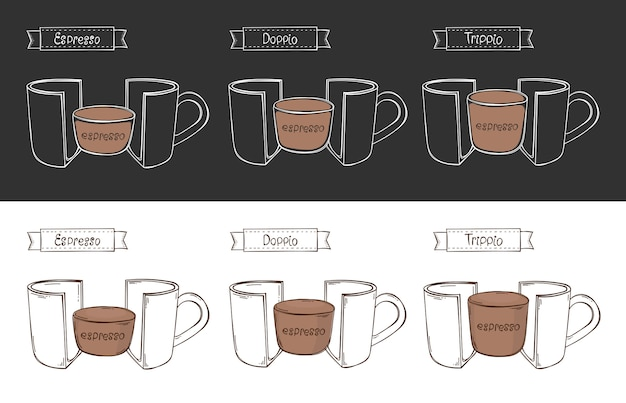 Tasse 3 espresso. infografik Premium Vektoren