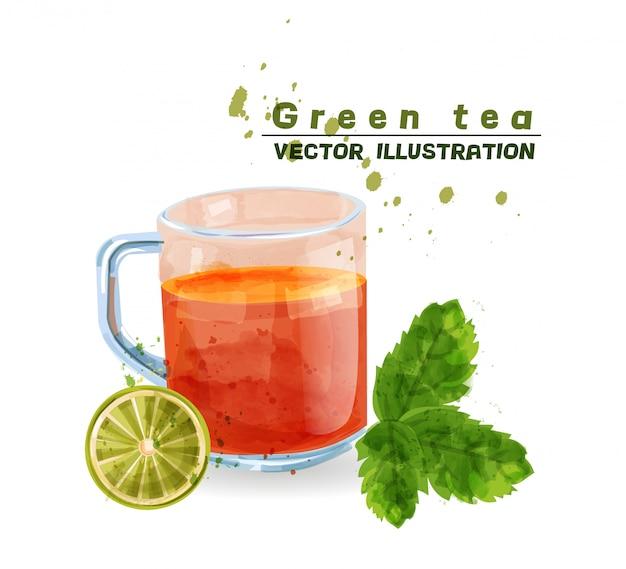 Tasse aquarell mit grünem tee Premium Vektoren