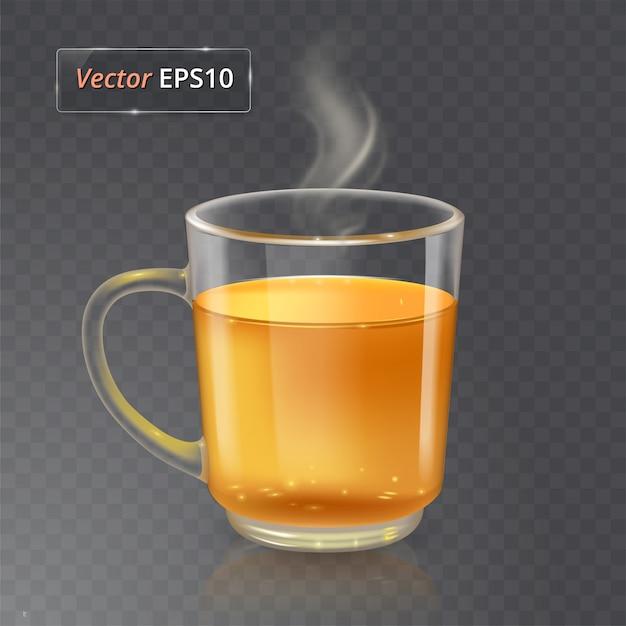 Tasse für tee oder kaffee. glas transparente tasse auf transparentem hintergrund mit realistischem rauch. Premium Vektoren