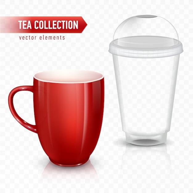 Tasse für tee oder kaffee. keramikbecher und plastikbecher. Premium Vektoren
