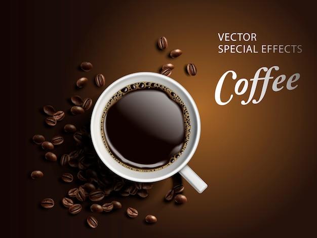 Tasse kaffee mit bohnenelementen, isolierter brauner hintergrund Premium Vektoren