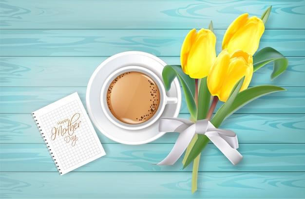 Tasse kaffee und tulpe blüht blumenstrauß Premium Vektoren