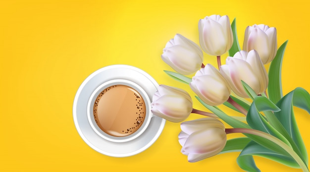 Tasse kaffee- und tulpenblumen Premium Vektoren