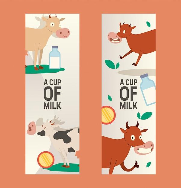 Tasse milch satz von banner. neugierige kuh, die gras mit freiem blick isst. lustiges tierbaby, vieh, das moo sagt. bio- und natürliche milchprodukte. Premium Vektoren