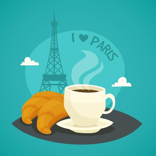 Tasse morgenkaffee mit hörnchen Kostenlosen Vektoren