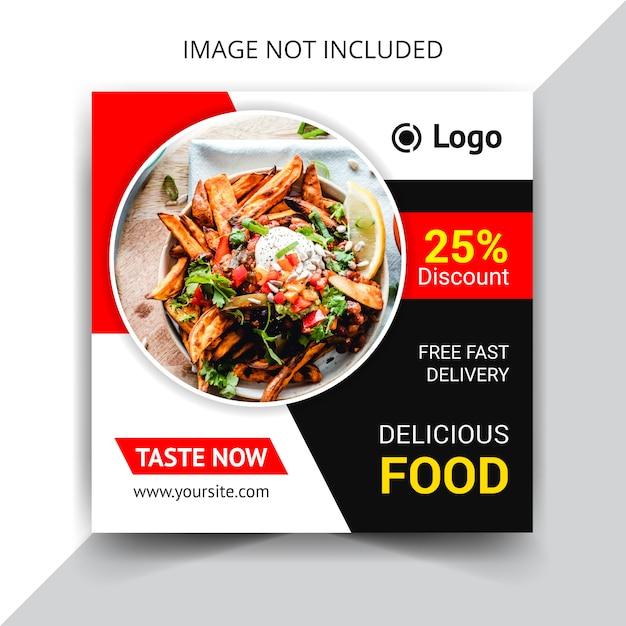 Tasty food social media beitragsvorlage Premium Vektoren
