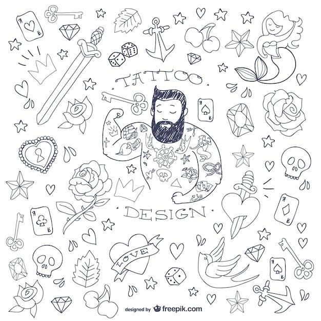 Tattoo-mann doodle symbole Premium Vektoren
