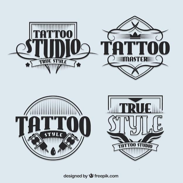 Tattoo studio logos im vintage-stil Kostenlosen Vektoren
