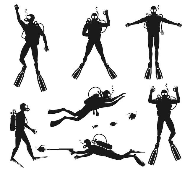 Taucher silhouetten. tauchschattenbilder auf weiß Kostenlosen Vektoren