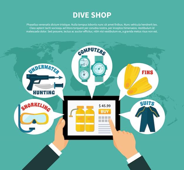 Tauchshop, der online-zusammensetzung kauft Kostenlosen Vektoren