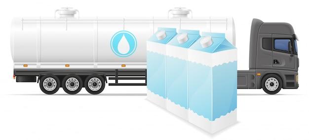 Tauschen sie halb anhängerlieferung und transport der milchkonzept-vektorillustration Premium Vektoren