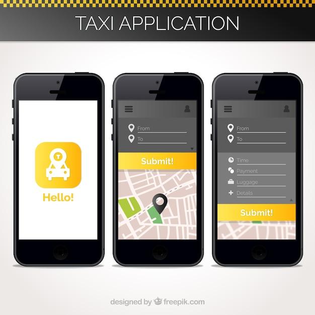 Taxi anwendungsvorlage für mobile Kostenlosen Vektoren