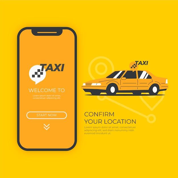 Taxi app konzept mit auto Kostenlosen Vektoren