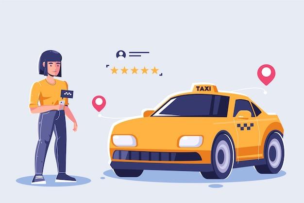 Taxi app konzept Kostenlosen Vektoren