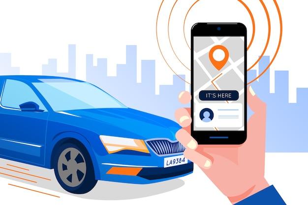 Taxi app schnittstellenkonzept Kostenlosen Vektoren