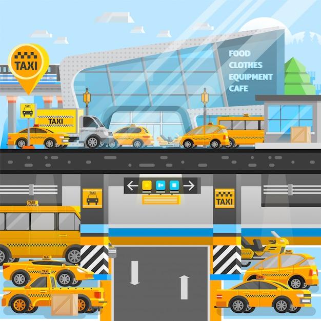 Taxi autos zusammensetzung Kostenlosen Vektoren