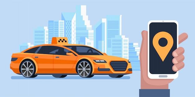 Taxi-banner. online mobile anwendung bestellen taxi-service. mann ruft ein taxi mit dem smartphone. Premium Vektoren