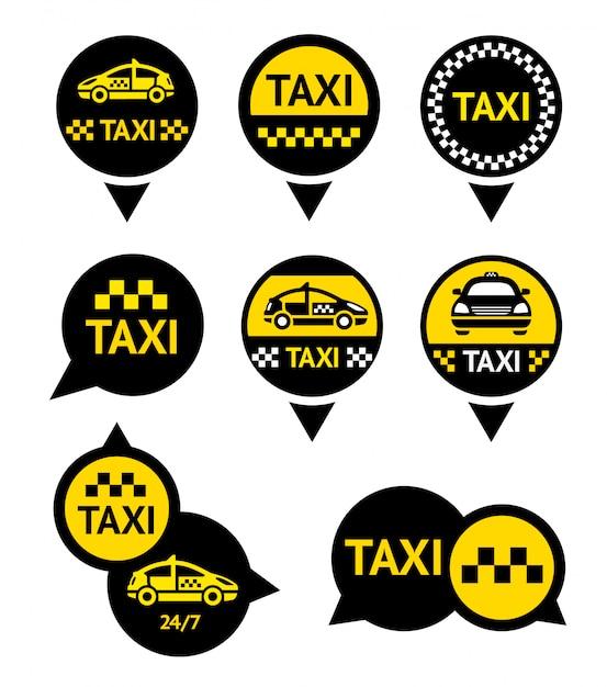 Taxi - embleme gesetzt Premium Vektoren