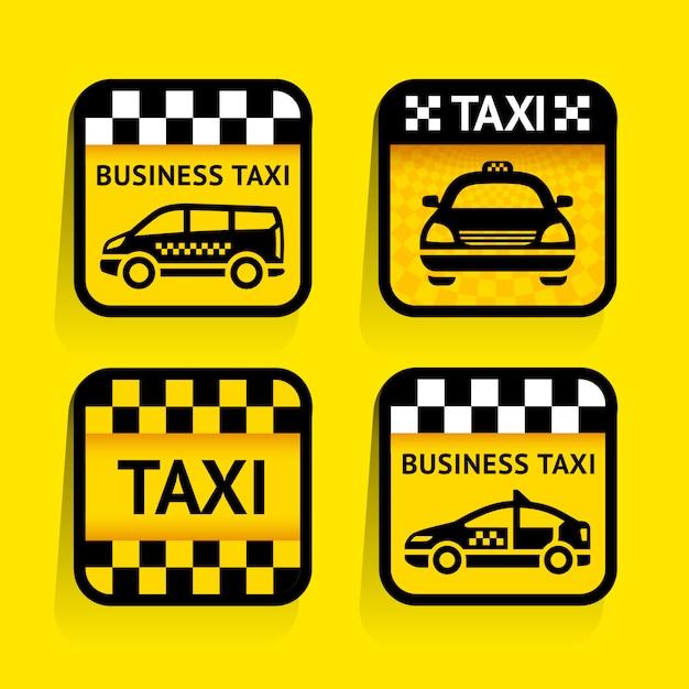 Taxi - gesetztes aufkleberquadrat auf dem gelben hintergrund Premium Vektoren