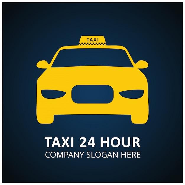 Taxi icon taxi service 24 stunden serrvice taxi auto blau und schwarzer hintergrund Kostenlosen Vektoren