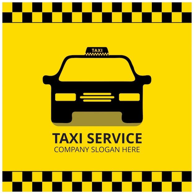 Taxi icon taxi service schwarz taxi auto gelber hintergrund Kostenlosen Vektoren