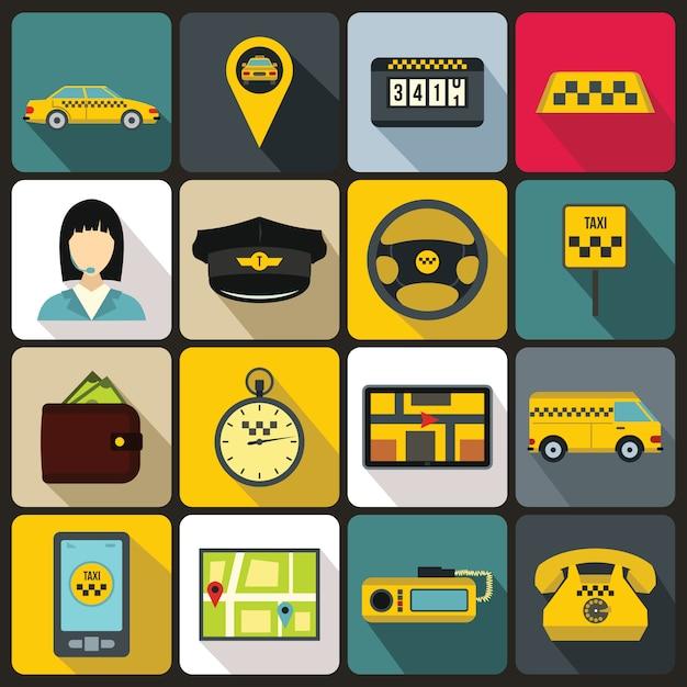 Taxi icons set, flachen stil Premium Vektoren