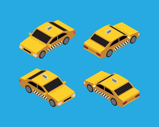 Taxi-isometrischer weinlese-vektor Premium Vektoren