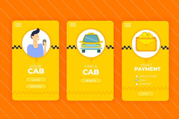 Taxi mobile app interface service Kostenlosen Vektoren