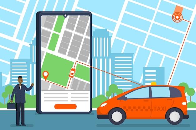Taxi mobile app service Kostenlosen Vektoren