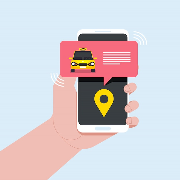 Taxi online-service mit handy-illustration Premium Vektoren