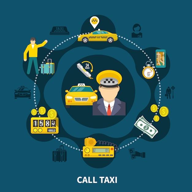 Taxi pool runde zusammensetzung Kostenlosen Vektoren