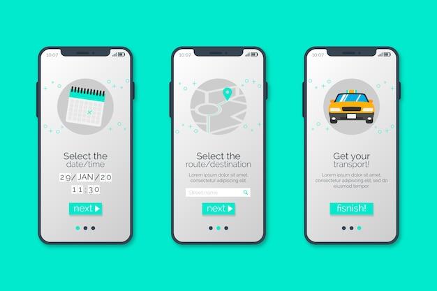 Taxi-service für das einbinden von app-bildschirmen Kostenlosen Vektoren