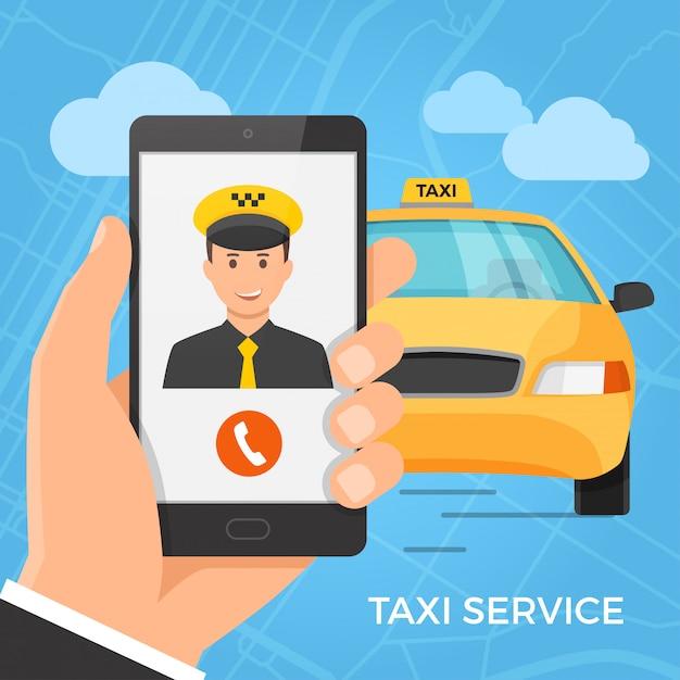 Taxi-service-konzept Premium Vektoren