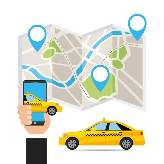 Taxi-service öpnv-app-technologie Premium Vektoren