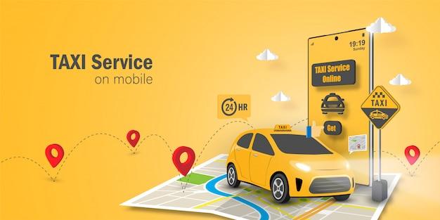 Taxi service online-konzept, taxi service-anwendung auf dem handy Premium Vektoren