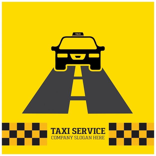 Taxi-symbol taxi-service taxi-auto auf der straße gelben hintergrund Kostenlosen Vektoren