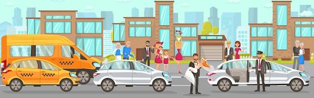 Taxi und fahrerservice bei hochzeit Premium Vektoren