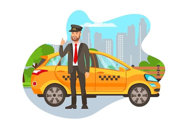 Taxifahrer mit auto lokalisierter zeichentrickfilm-figur Premium Vektoren