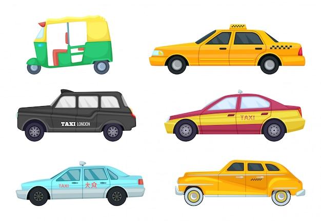 Taxis in verschiedenen städten. transport für schnelles reisen. Premium Vektoren