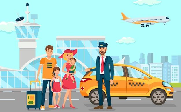 Taxiunternehmen in flughafen Premium Vektoren