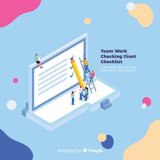 Team, das an checklistenhintergrund arbeitet Kostenlosen Vektoren