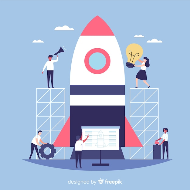 Team, das einen raketenhintergrund aufbaut Kostenlosen Vektoren