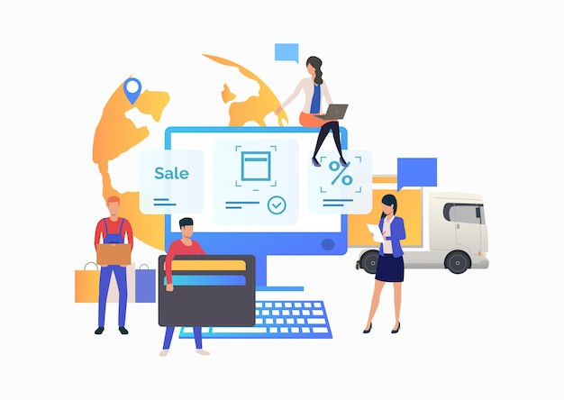 Team des onlineshops arbeitend mit kunden Kostenlosen Vektoren