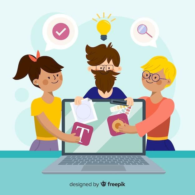 Team teilen, um grafikdesign zu machen Kostenlosen Vektoren