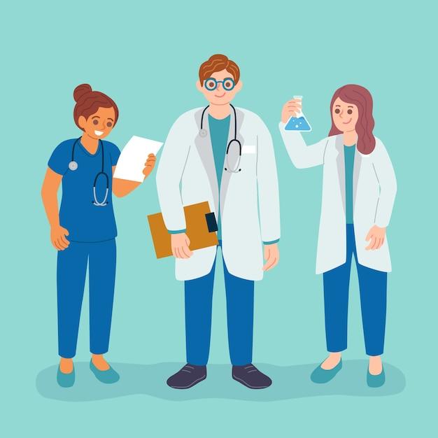 Team von angehörigen der gesundheitsberufe Kostenlosen Vektoren