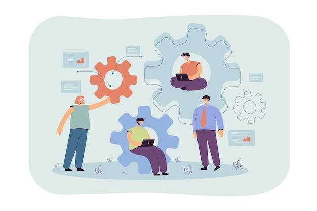 Team von ingenieuren, die gemeinsam am mechanismus arbeiten, einen laptop verwenden, sprechen, in zahnrädern sitzen und codes schreiben. karikaturillustration Kostenlosen Vektoren