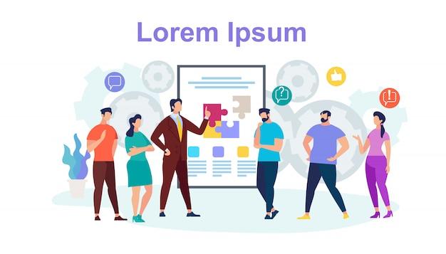 Team work horizontal banner mit textfreiraum Premium Vektoren